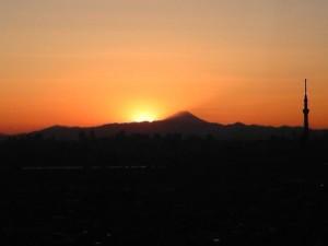 富士山に日が暮れる